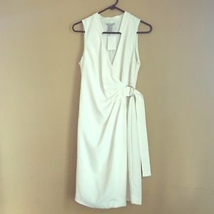 White Wrap dress with side buckle